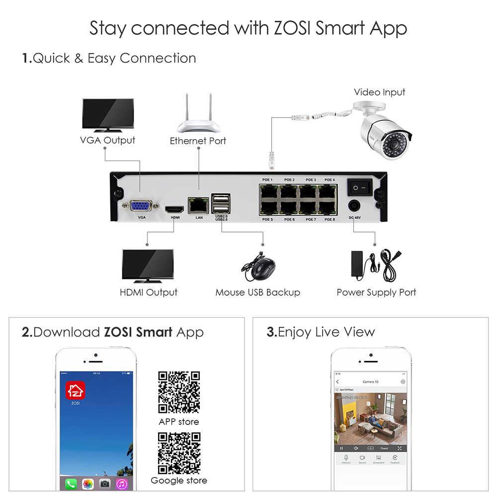 ZOSI H.265 8CH 5MP POE نظام الكاميرا الأمن عدة 8 قطعة 5MP سوبر كاميرا شبكية عالية الوضوح في الهواء الطلق مقاوم للماء CCTV المراقبة بالفيديو NVR مجموعة