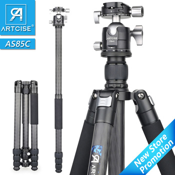 Professional Carbon Fiber Tripod for Digital DSLR Camera Heavy Duty Camera Stand Double Panoramic Ball Head Monopod Ultra Stable heavy duty carbon fiber tripod for dslr camera af80c professional camera stand 65mm bowl adapter fast flip lock 20kg max load