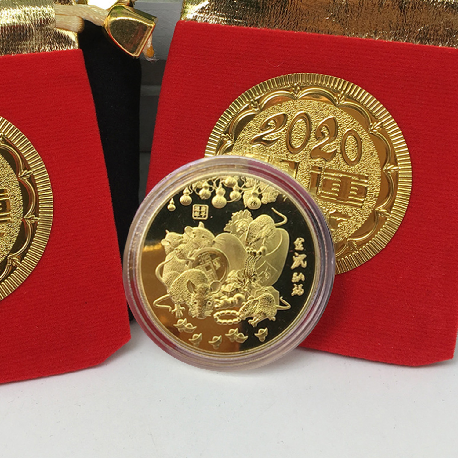 Besegad Commemorative Coin 2020 Year Of The Rat Challenge Collectible Coins Chinese Zodiac Souvenir For Spring Festival Gifts