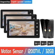 7 zoll Verdrahtete Video Tür Telefon 3 monitor mit 2 Türklingel kamera Home Video Türklingel Unterstützung Motion Erkennung Rekord Tür intercom