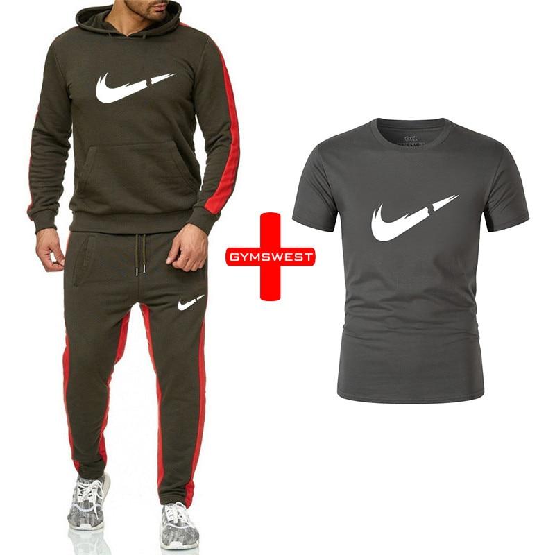 2019 New Brand Men's Sportswear Suit Black Hoodiewinter Casual Sports Hoodie And Men's Sweatpants Casual Pants  Suit New Hoodies