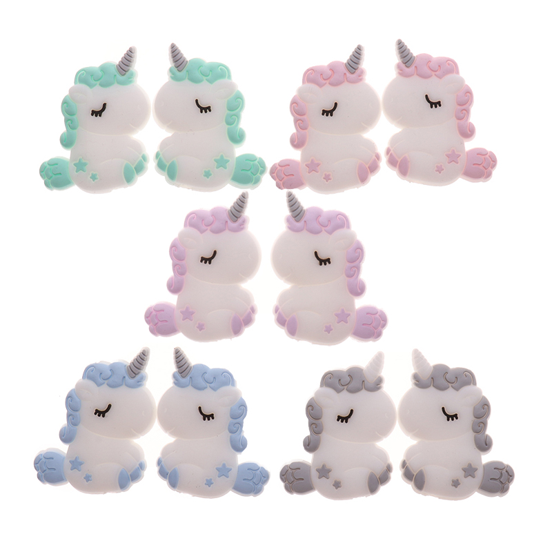 ATOB 5PCS Silicone Unicorn Teething Beads Animals Teether Baby Silicon Beads Baby Teething  For Necklace Baby Teether Bpa Free