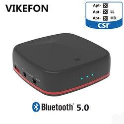 VIKEFON Bluetooth 5.0 émetteur récepteur Aptx HD/faible latence Audio adaptateur sans fil 3.5mm RCA pour TV PC amplificateur de voiture, paire 2