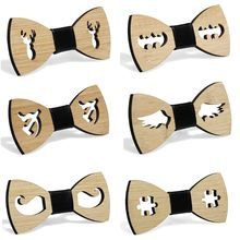 Men Boys Hollow Bat Deer Wings Handmade Bamboo Wooden Bow Tie Faux Leather Knot Center Adjustable Business Wedding Party Necktie