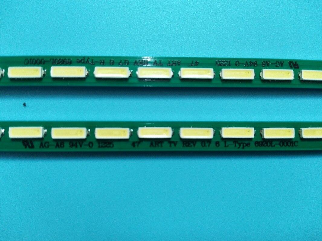 """Novo 5 conjunto = 10 pces 63led 518mm led backlight strip para lg 47la6600 6922l-0071a 0029a 6916l1179b 6920l-0001c 47 """"v13 r l"""