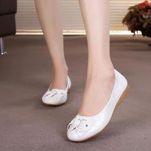 Zapatos planos de cuero genuino para mujer, calzado informal de cuero de primera capa, zapatos individuales para mujer
