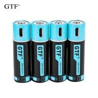 GTF1.5V USB AA batteria agli ioni di litio 2550mwh 1500mah 100% capacità li-polimero USB batteria ricaricabile al litio usb cavo USB