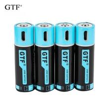 Gtf1.5v usb aa li-ion bateria 2550mwh 1500mah 100% capacidade li-polímero usb recarregável bateria de lítio usb cabo de usb