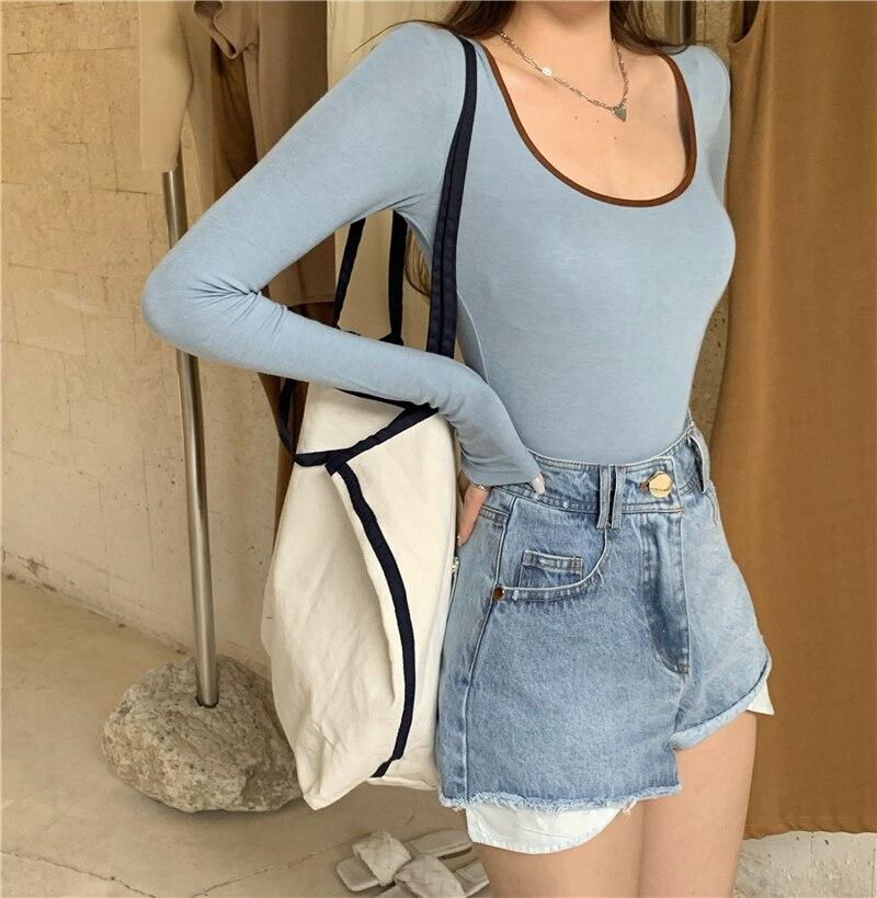 3 colors autumn korean style u neck womans tops color patchwork slim long Sleeve t-shirt Womens Tees shirt femme (R99359) 3