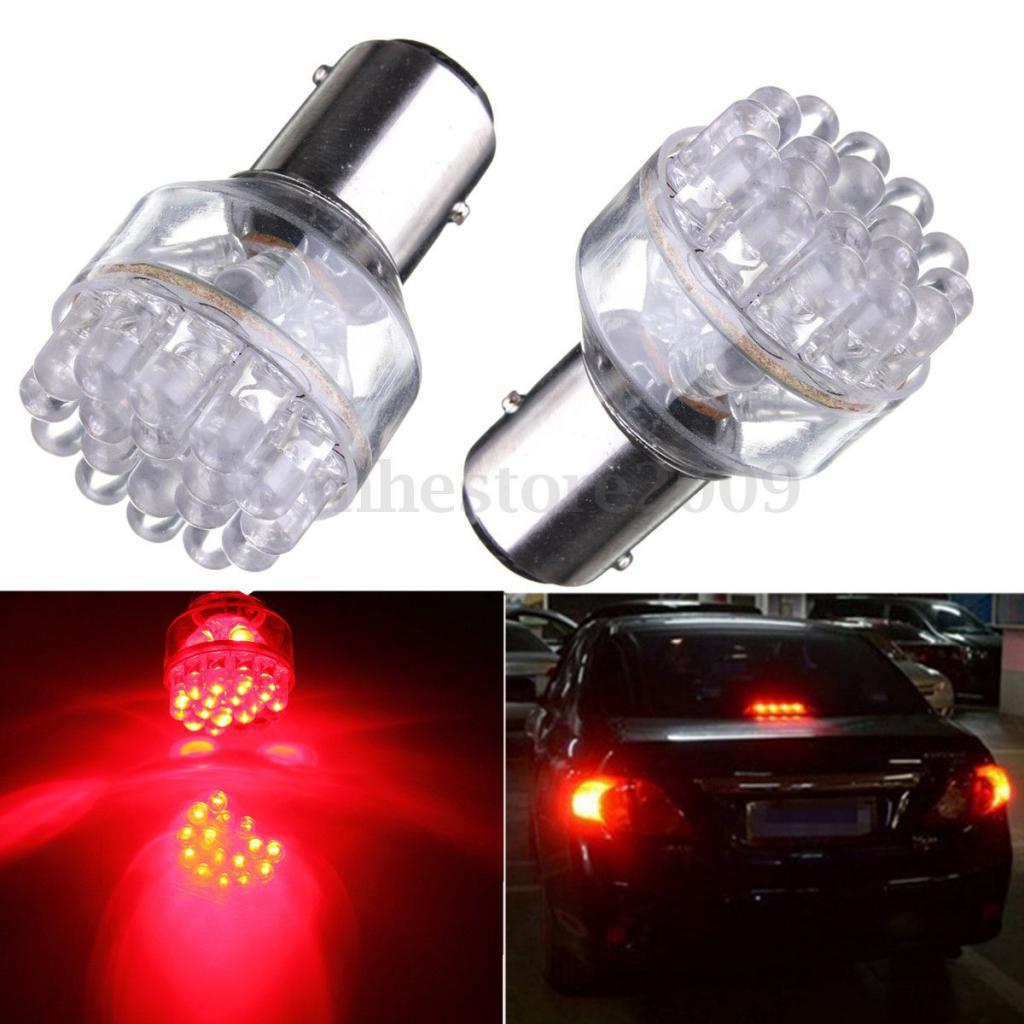 2 Pcs 1157 BAY15D Red 24 LED Dual Filament Car Stop Brake Tail Light Bulbs 12V DC