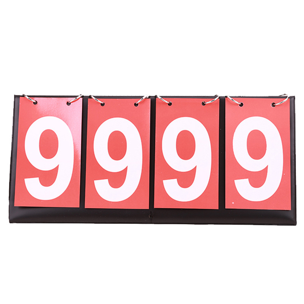 Flip Foldable 4 Digit Manual Football Basketball Badminton Double-sided Ring Scoreboard Competitions Team Sport Table Tennis