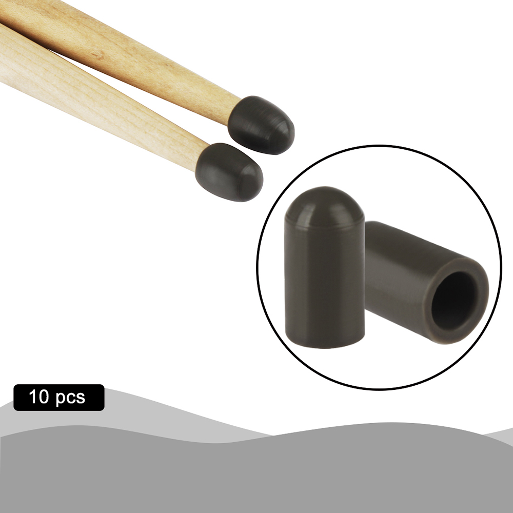 10pcs Silicone Material Drumstick Silent Tips Mute Drum Stick Mallet Protectors Covers Drum Set  Parts Percussion Accessories