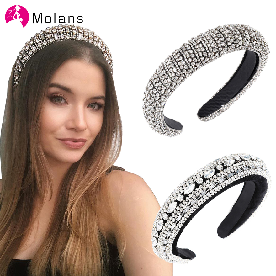MOLANS Women Headband Padded Sparkly Black White Full-Crystal-Luxurious Limited-Edition