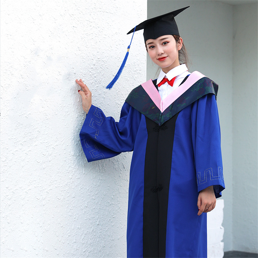 Unisex Student Graduation Uniform University School Costumes Bachelor Academic Dress Gown Photography Ceremony Robes Hat