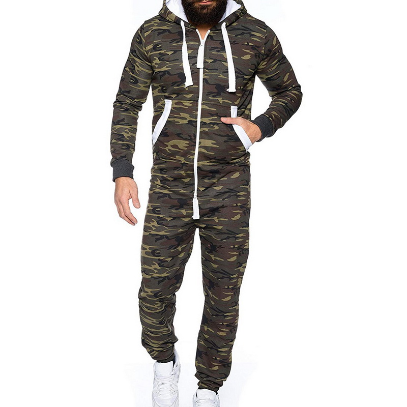 CYSINCOS Autumn Men's Jumpsuit Patchwork Men's Sportswear Casual Hooded Sportswear With Pocket Long Overalls Thick Fashion