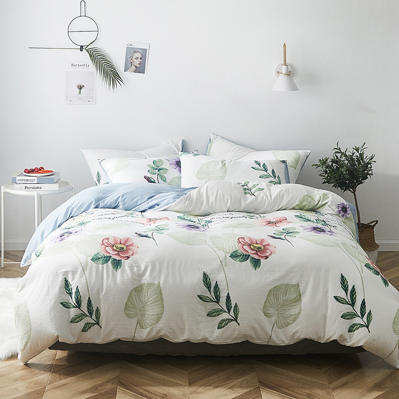 Manufacturers Direct Selling Simple MUJI-style Washed Cotton Four-piece Set Good Quilt Cover Bedding Article Zara Wechat Busines