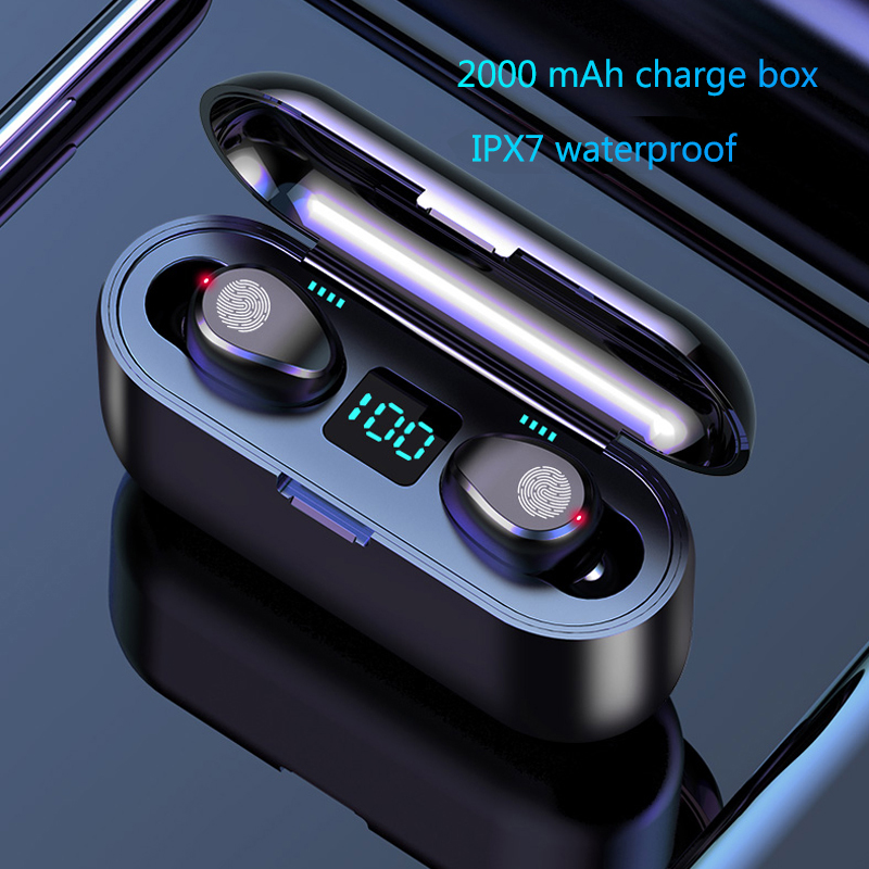 F9 TWS Wireless Bluetooth LED Display With 2000mAh Power Bank Headset With Microphone