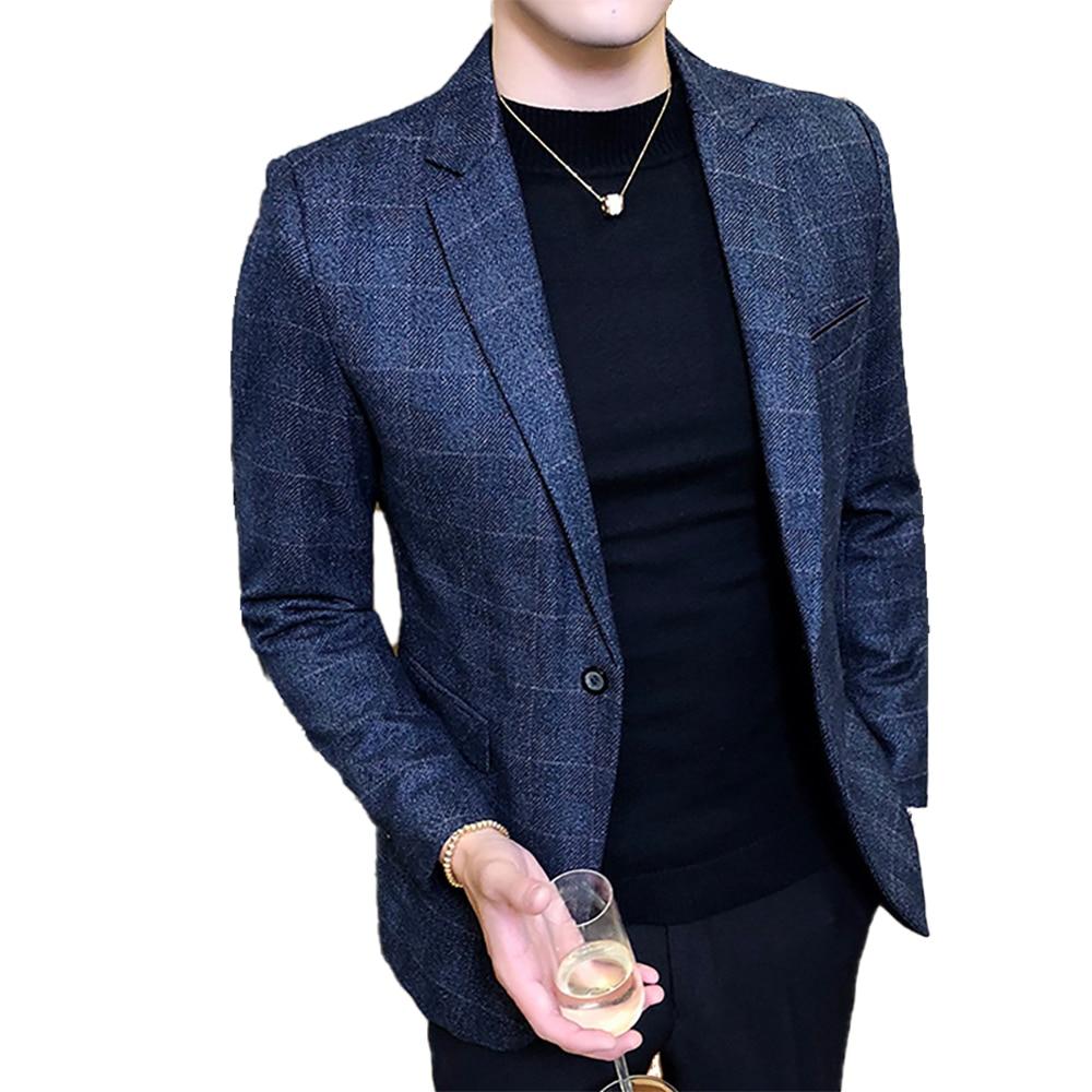 2020 New Men's Fashion Boutique Plaid Formal Business Suit Jacket Blazer Male Plaid Casual Suits Coat / Size S-5XL Male Suit