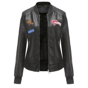 Women's Motorcycle Leather Jacket Autumn Winter Womens Leather Jacket Jaqueta Couro Ziperes Bordado Big Size Leather Coats 3XL(China)
