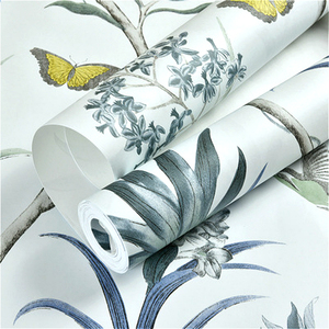 Image 5 - Chinoiserie papier peint moderne Vintage avec fleurs roses, papillons, oiseaux tropicaux