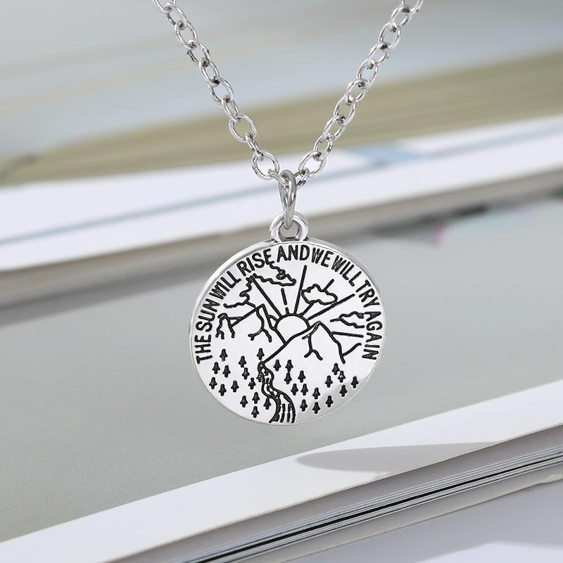 Женское Ожерелье из нержавеющей стали sun will rise вдохновляющее
