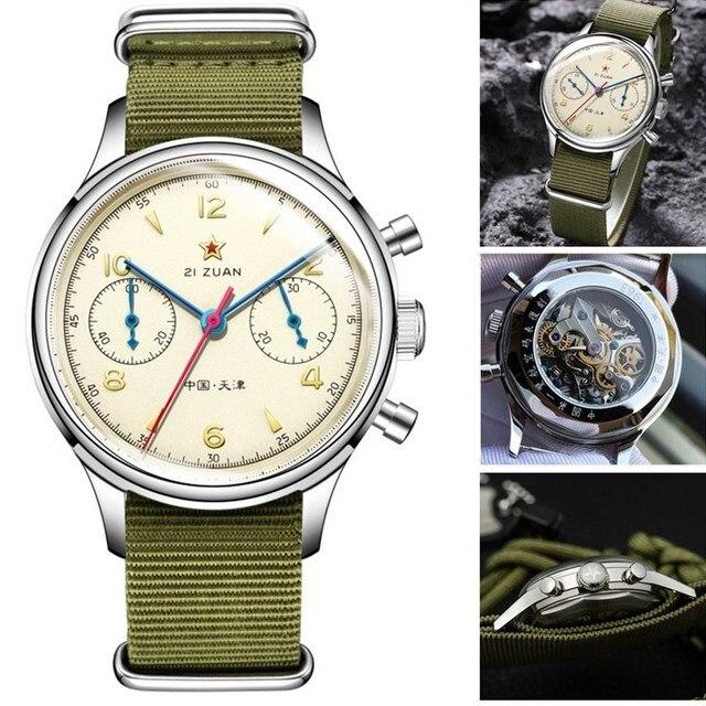 $ US $163.25 Men Chronograph Watches 1963 Acrylic / Sapphire Glass Dial ST19 Hand Wind Seagull Movement Pilot Mens Mechanical Wrist Watch