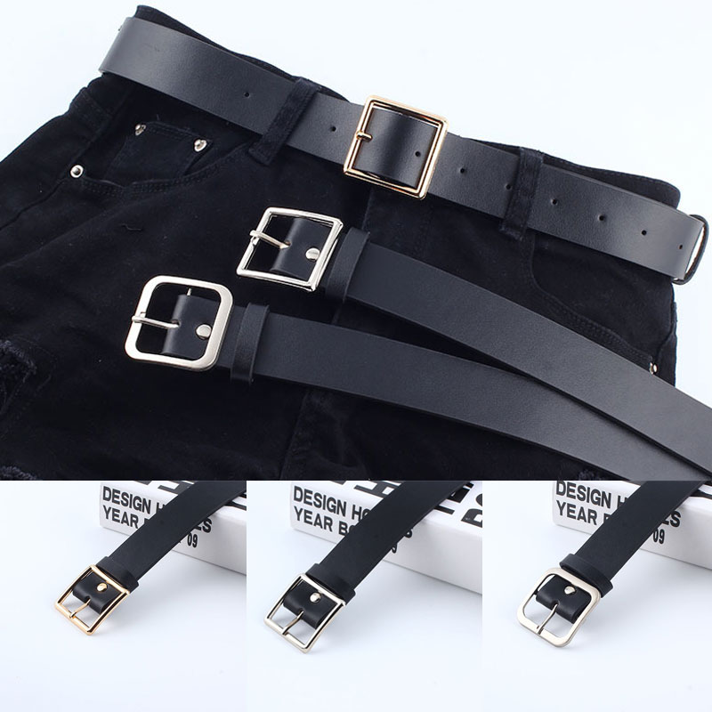 Simple Women Belt Solid Black Pu Leather Belts For Women Soft Round Square Buckle Women Belt Cinturones Para Mujer Pasek Damski