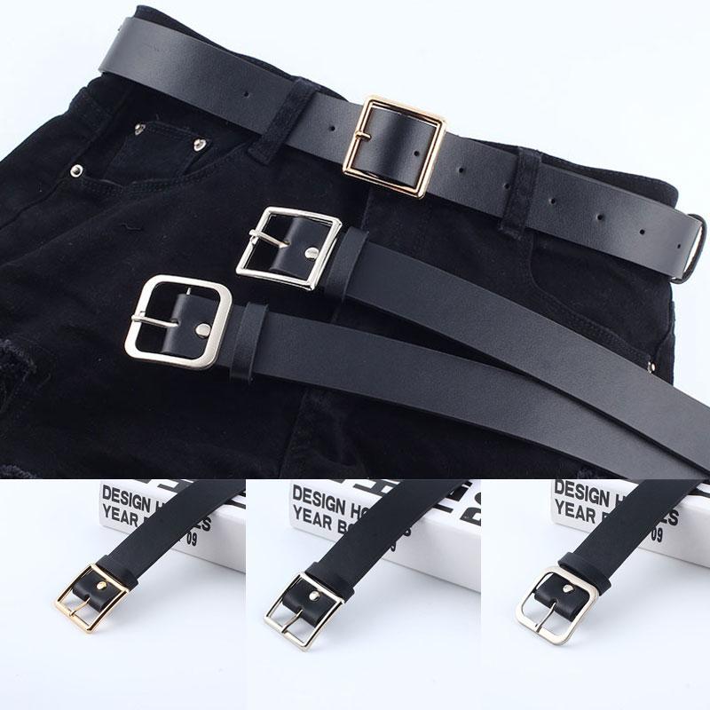 Simple Women Belt Solid Black Pu Leather Belts For Women Soft Round Square Buckle Women Belt Cinturones Para Mujer Pasek Damski