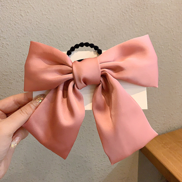 IFMIA Korean Bow-Knot Elastic Hair Bands Accessories Fashion Hair Band Long Ribbon Bow Ponytail Hair Tie Scrunchies Women Girls 5