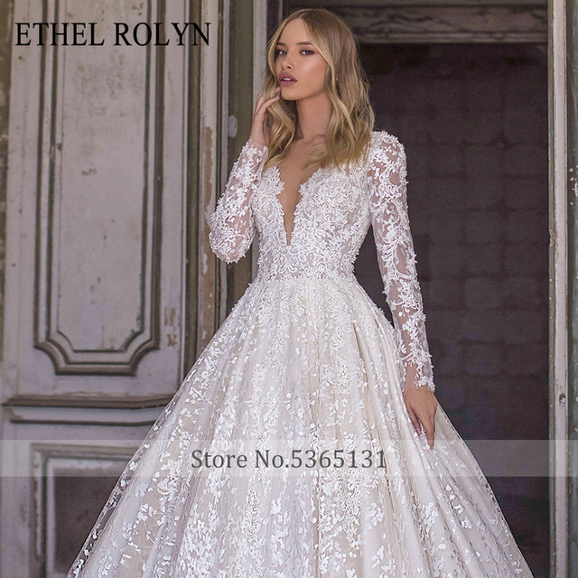 ETHEL ROLYN A-Line Lace Wedding Dress 2021 Romantic V-neck Long Sleeve Beading Appliques Bride Dresses Princess Bridal Gowns 5