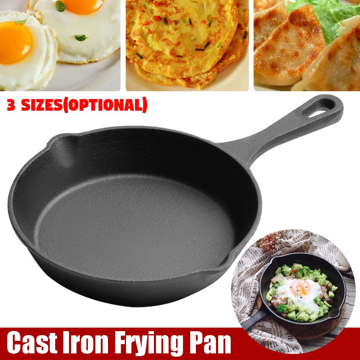<font><b>3</b></font> Sizes Not Sticky <font><b>Frying</b></font> <font><b>Pan</b></font> Cast Iron <font><b>Pan</b></font> Stone Layer <font><b>Frying</b></font> Pot Saucepan Cooker Eggs Pancake Pot Use Gas Induction Cookware image