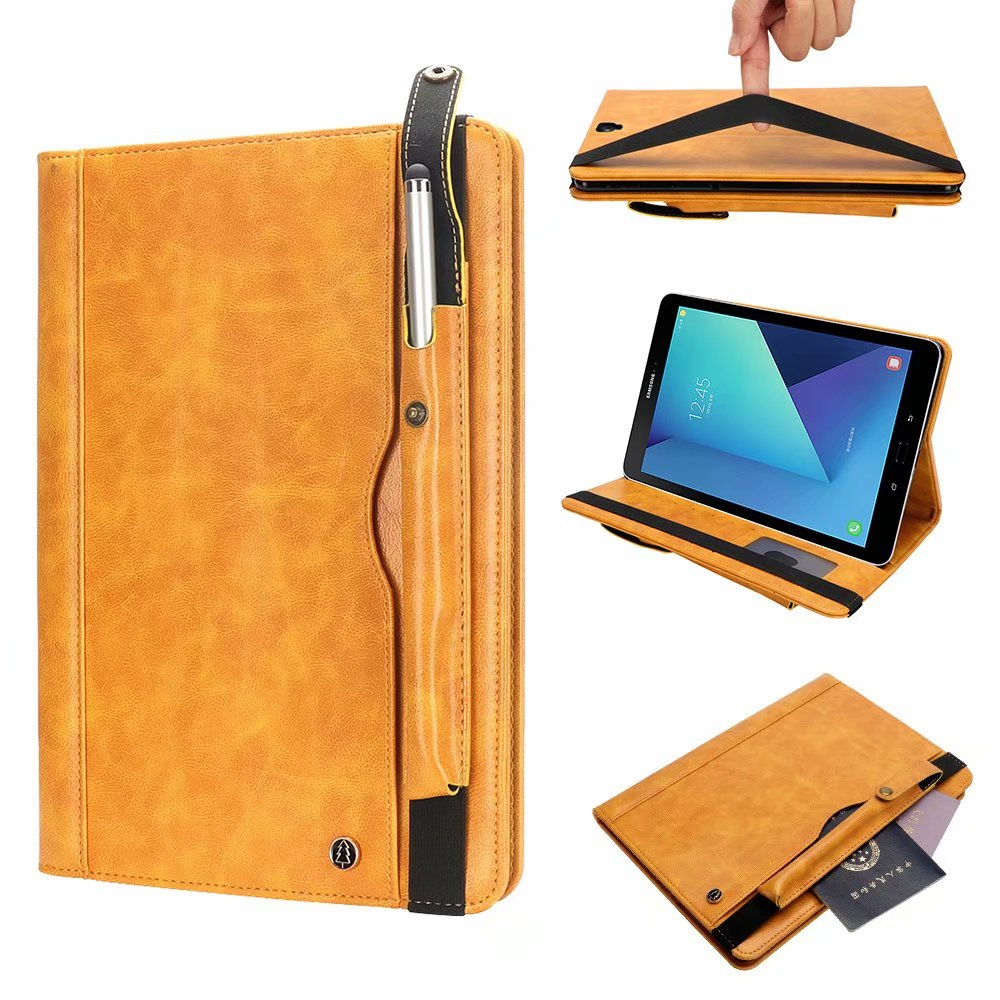 Business Affairs Leather Tablet Case For Samsung Galaxy Tab S3 T820 T825 SM-T820 SM-T825 9.7 Inch Folio Card Holder Stand Protective Cover With Pencil+Pen