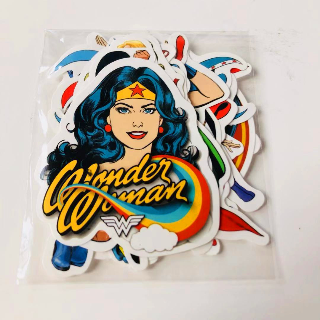 <font><b>20</b></font> <font><b>DC</b></font> Wonder Woman Justice League Adhesive Paper Luggage Travel Lugguge Fixed Gear Skateboard Fashion Waterproof Car Sticker image