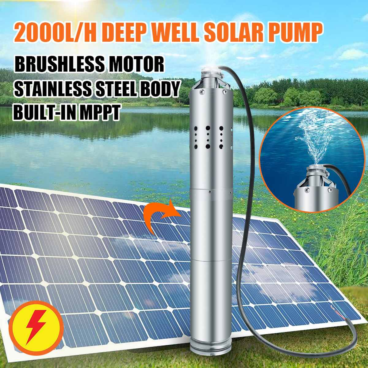 Solar Powered Water Pump 24V 2000L/H 40m Deep Well Pump DC Submersible Pump Bore Hole Deep Garden Home Agricultural Farm Ranch