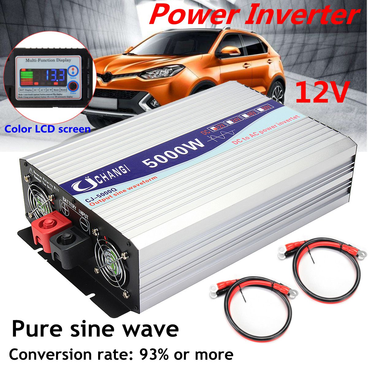 Intelligente Screen Reine Sinus Welle Power <font><b>Inverter</b></font> 12 V/24 V Zu <font><b>220V</b></font> 3000 W/4000 W /5000 W/6000 W Konverter image