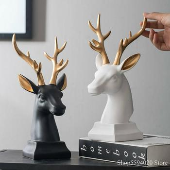Nordic Creative Wine Cabinet  Simple Deer Head Decor Home Miniature Garden Wedding Living Room Soft Decoration Unicorn Resin