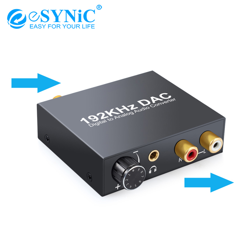 ESYNiC 192kHz DAC Converter Optical Coaxial Toslink To RCA 3.5mm Jack For XBox HD DVD Digital To Analog Audio Converter Adapter