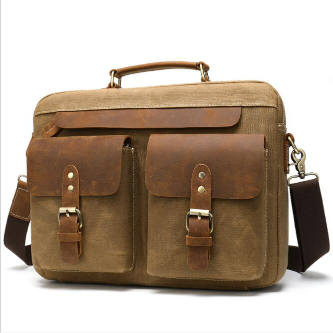 Luufan Casual Mens Canvas Briefcase Daily Canvas Tote Bags Men Male Wateroof Canvas Bag Shoulder Bag For School Messenger Bags