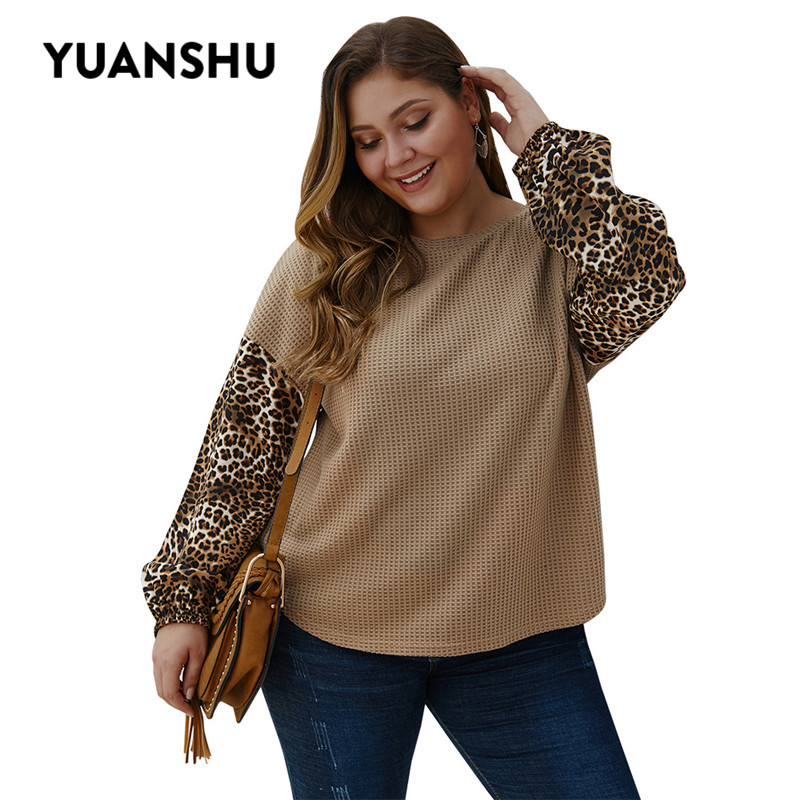 YUANSHU Leopard Patchwork Knitted Plus Size Blouse Women O Neck Loose Soft Tops Office Lady Fashion Knitwear  XL-4XL Large Size