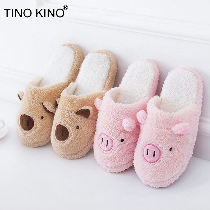 Women Winter House Slippers Slip on Faux Fur Flat Sandals Soft Warm Shoes Lovely