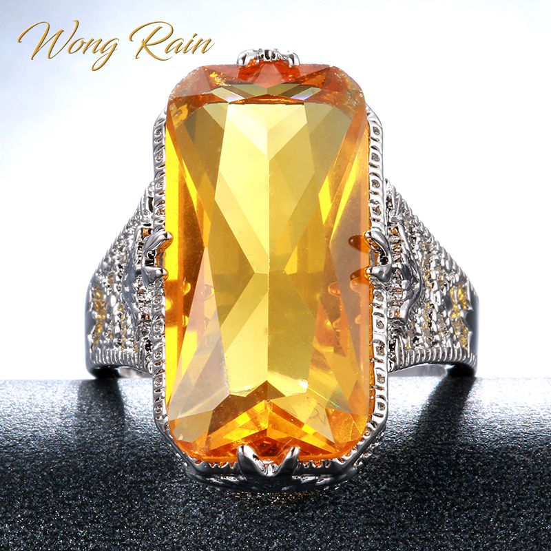 Wong Rain Vintage 100% 925 Sterling Silver Huge Citrine Gemstone Wedding Engagement Ring Fine Jewelry Wholesale Drop Shipping