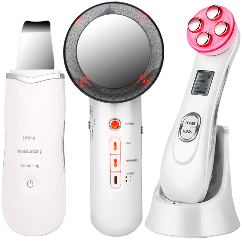 EMS Mesotherapy RF Radio Frequency Facial Beauty + Ultrasoic Skin Scrubber Deep Face Cleaning + Infrared Body Slimming Massager|Home Use Beauty Devices| - AliExpress
