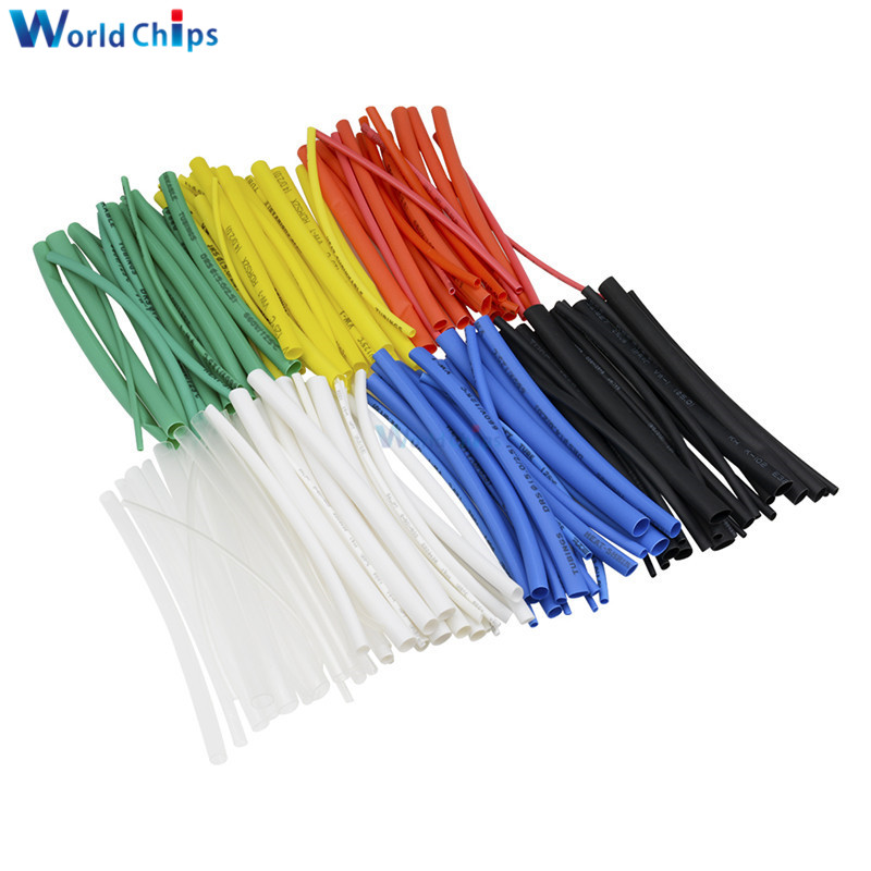 140Pcs Car Electrical Cable Heat Shrink Tube Tubing For Wrap Sleeve Assorted 5 Sizes 7 Colors Polyolefin New Electric Unit Part