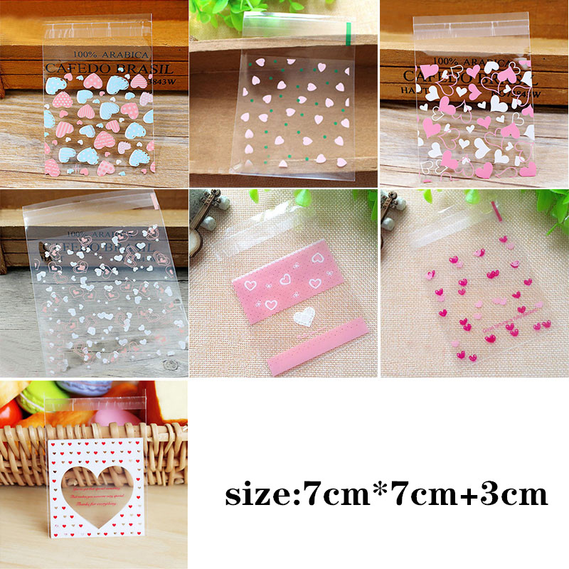 50/100Pcs Small Cute Self Adhesive Plastic Bag Heart Pattern Wedding Birthday Party Favor Cookie Candy Gift Packaging OPP Bags
