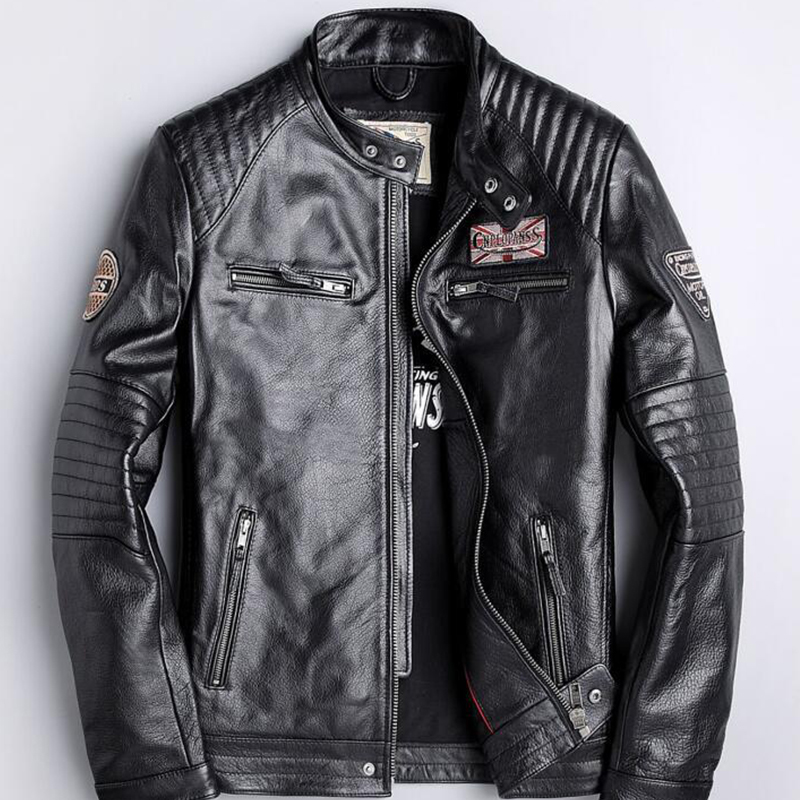 Clothing Jacket Real-Leather Coats Cowhide Cool New Black Embroidery Men