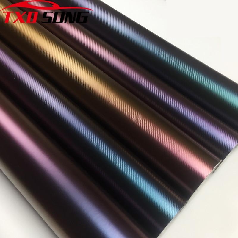 50CM*200/300CM 3D Carbon Fiber Vinyl Car Wrapping Foil Motorcycle Car Sticker Decoration Chameleon Stickers For Car Styling