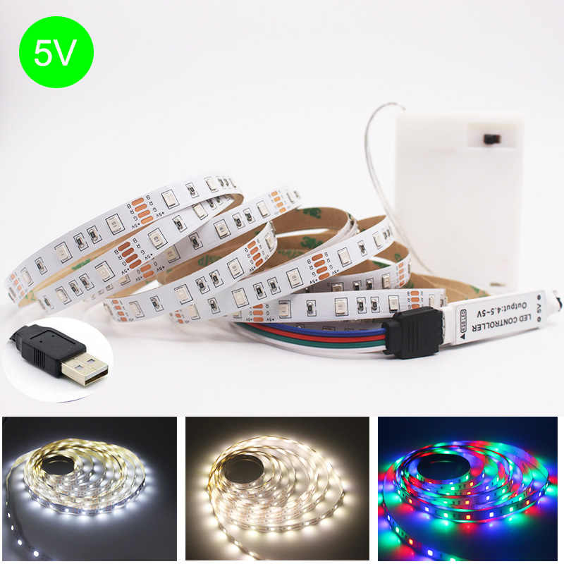 LED ストリップランプ SMD 2835 RGB フレキシブル Led ライトテープリボン USB/3AA バッテリー 5V HDTV テレビデスクトップ画面の背景バイアス照明