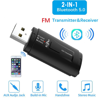 Bluetooth 5.0 Audio Receiver Transmitter Mini Stereo Bluetooth AUX USB 3.5mm Jack for TV PC Handsfree Car Kit Wireless Adapter image