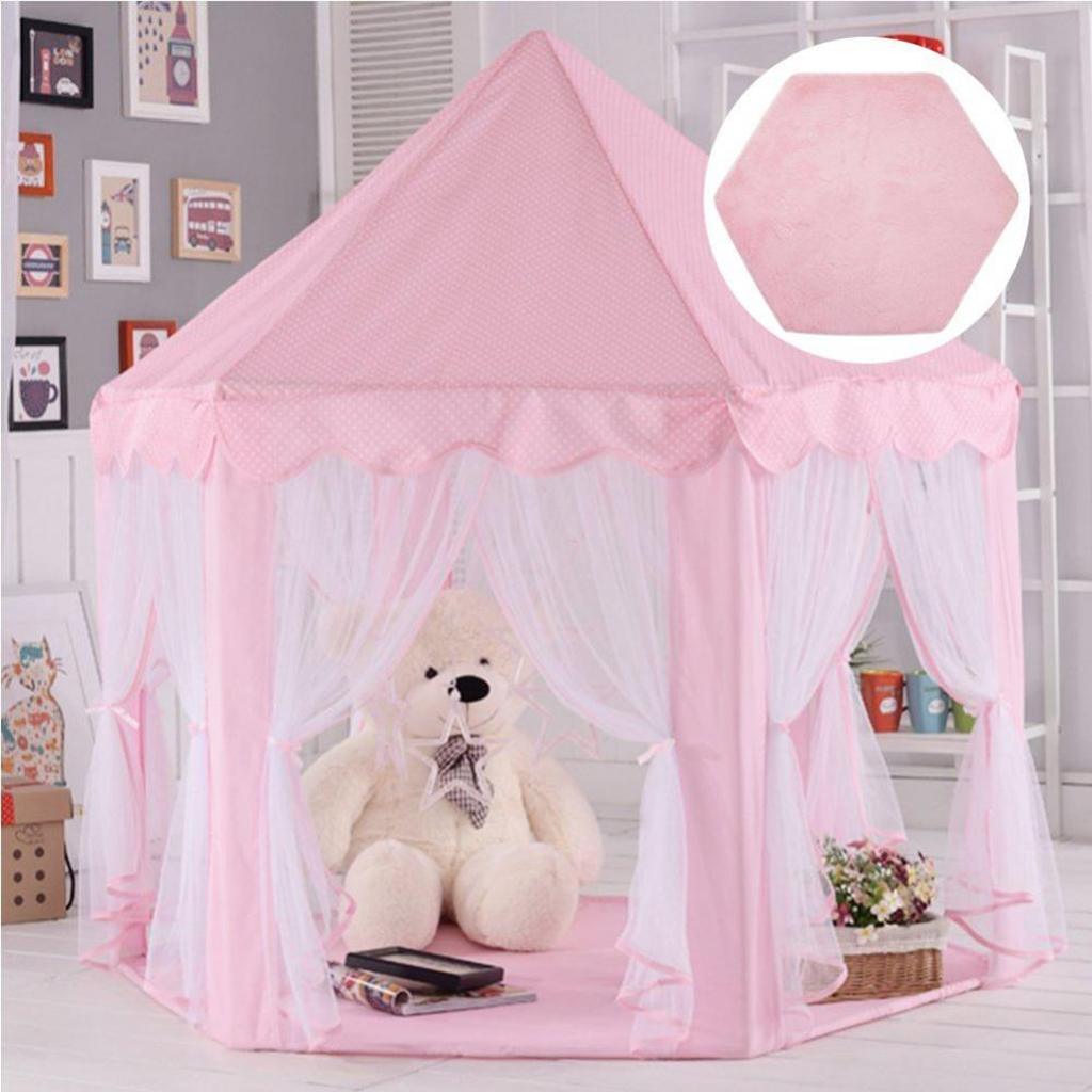 Hexagonal Soft Plush Kids/Baby Playhouse Tent Carpet Children Bedroom Floor Cushion - Pink For Home Cushion Living Room