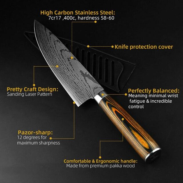 Coltello da cucina Lo Chef Coltelli Giapponesi 7CR17 440C Alto Tenore di Carbonio In Acciaio Inox Imitazione Damasco Levigatura Laser Coltello 5